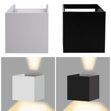 7W LED Outdoor Waterproof Wall Lamp IP67 Surface Indoor Cube LED Wall light,Aluminum White/Black/Grey Up and Down Wall Lamp(China)