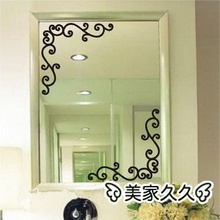 Mirror Corner Sticker Kitchen Cabinet Wall Decal Vinyl Shop Showcase Europe Style Butterflies Adesivo De Parede Grilles Bathroom