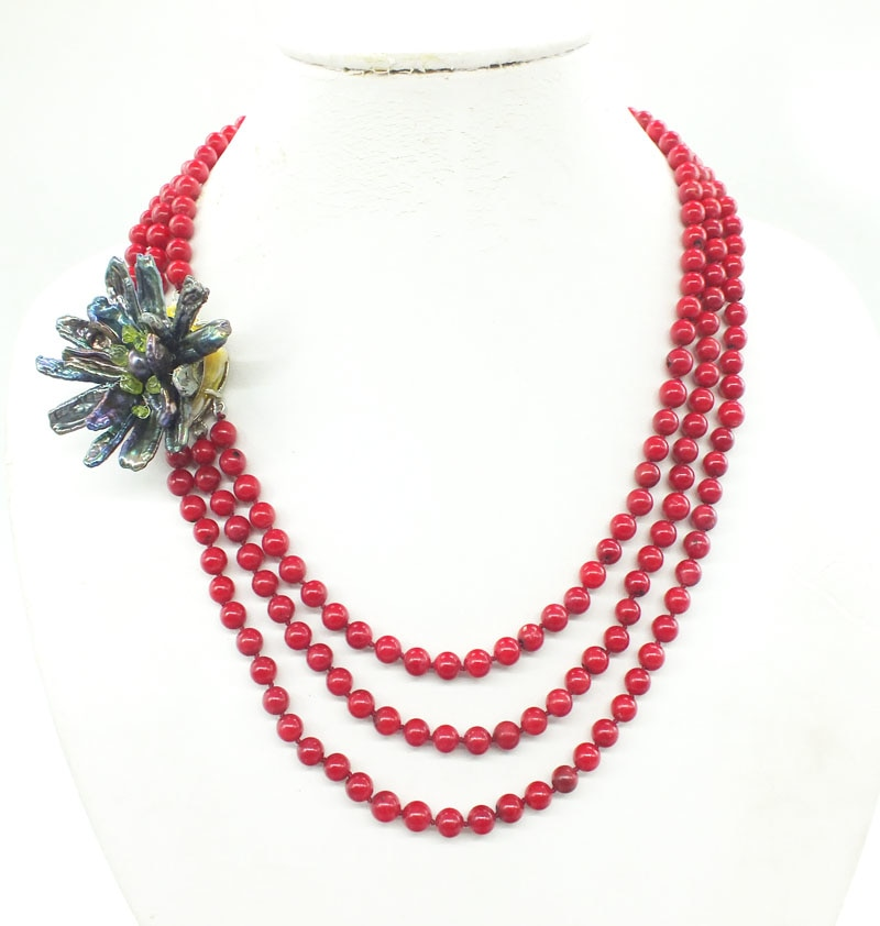 6MM Natural Red Coral 3 Layer Charm Bridal Wedding Coral Necklace