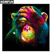 "HOMFUN Full Square/Round Drill 5D DIY Diamond Painting ""Lovely gorilla"" 3D Embroidery Cross Stitch Mosaic Rhinestone Home Decor(China)"