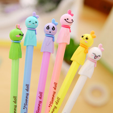 0.38mm Cute Cartoon Candy Color 3D Sunny Doll Girl Black Gel Ink Pen Kawaii Signature Pen Escolar Papelaria School Office Supply(China)