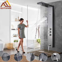 Brushed Nickel Thermostatic Shower Panel Rain Waterfall Shower Head Massage SPA Jet Three Handles Mixer Tap Bath Shower Faucets(China)