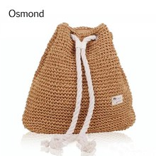 Osmond New Spring Summer Drawstring Backpack Vintage Hollow Out Woven Straw Backpacks Small Beach Backpack Bucket Bag For Girls(China)
