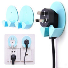 Random Color 2Pcs Home Office Wall Adhesive Plastic Power Plug Socket Holder Hanger Hook paste type(China)