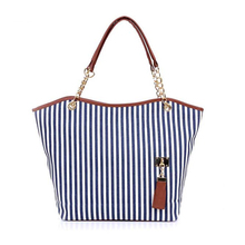2017New Summer Striped Casual Tote Bags Women Big Size Canvas Shoulder Bag PU Leather Tassel Handbag Zipper Beach Bag for Ladies