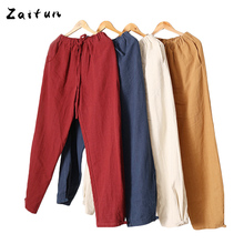ZAITUN Soft Breathable Drawstring Linen Pants Men Casual Linen Pants Summer Swag Straight Big Size Linen Trousers Bottoms