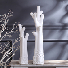 white large floor vase ceramic creative contracted flower vase home decor craft room decoration handicraft porcelain figurine(China)