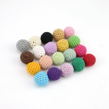 Let's Make Beads Jewelry Chunky Wooden Crochet Beads 100 Nursing Toy Teething Crochet Mix Colour Wood Beads With Crochet 20mm(China)
