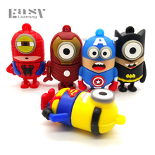 Easy Learning Best Selling Cartoon Pen Drive MInions Styles 8GB 16GB 32GB 64GB USB Flash Drives Memory Stick Pendrives U Disk(China)