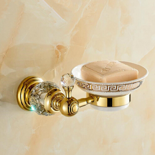 European Style Crystal &amp; Brass &amp; Ceramic Bathroom Accessories Soap Dishes / Soap Holder/Soap Case Wall Mounted<br>