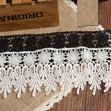 5Yards 8cm Water Soluble Lace Fabric DIY Fringe Craft Polyester Trim Black White Sewing Accessories For Necklace Collar YYN162(China)