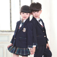 Quality British Plaids Navy Blue Boys Girls Student Kids School Uniform Suits Set Blazer Coat Shirts Skirts Pants With Bow Tie