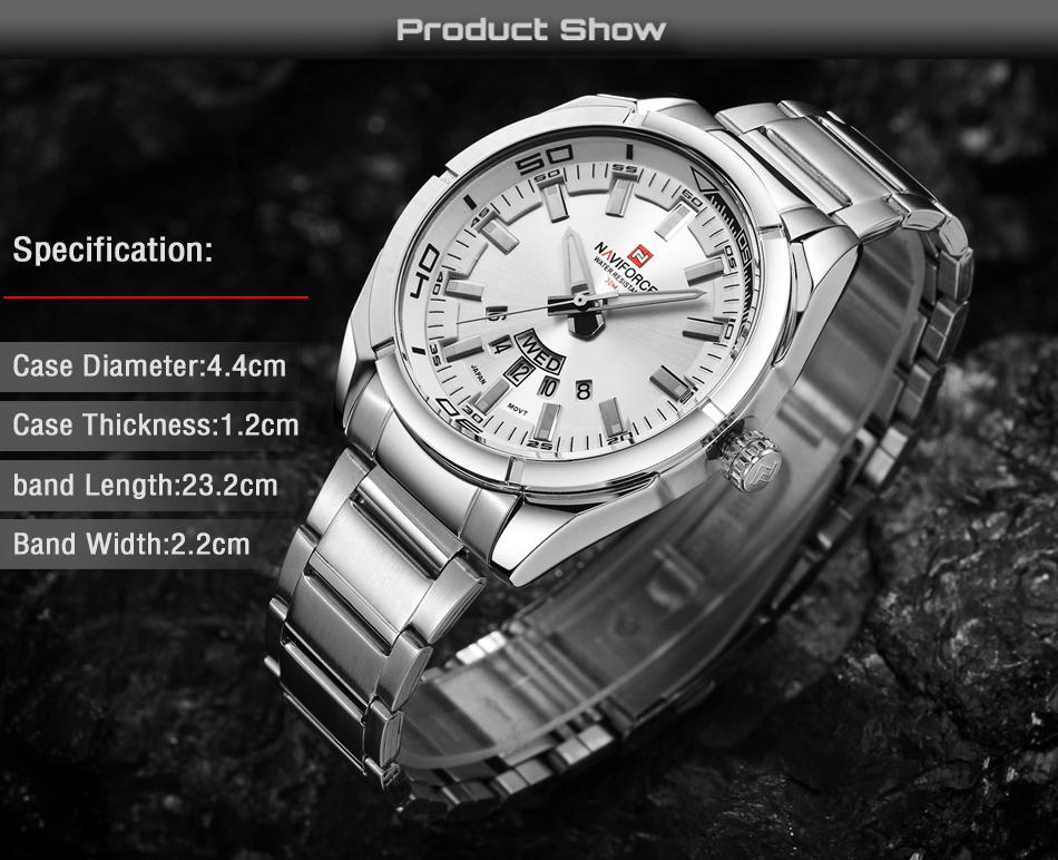 2017 NAVIFORCE Nouveau Top Marque Hommes de Montres Hommes En Acier Plein Imperméable Casual Quartz Date Horloge Mâle montre-Bracelet relogio masculino 6
