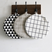 Kitchen Geometry Cotton Linen Insulation Pads Prevent Hot Meal Pad Thickens Pot Mat Cup Mat Table Mat #239133