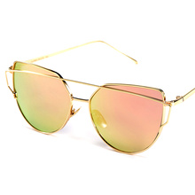 Hot Sale 2017 Pink vintage Mirror female sunglasses women and men girls love sun glasses