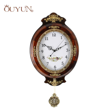 OUYUN European large Wall Clock Modern Design Wooden Vintage Wall Clock Pendulum Mute Clock Safe Quartz Clock Movement Home