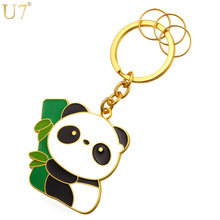 U7 Cute Panda Key Chains Rings For Men/Women Wholesale Gold Color Novelty Animal Key Holder Keychain With Box K012(China)