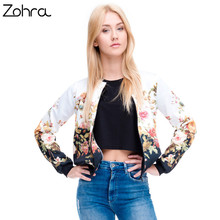 Zohra Brand Hot Sale Women Bomber Jacket 3D Printed Flower Fashion Sexy Jacket Short Coats Outwear Basic Jackets