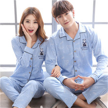 2017 Autumn Winter Cotton Family Pyjamas Sets Of Sleepcoat & Sleep Long Couple Sleepwear Lover Nightdress & Home Clothing(China)
