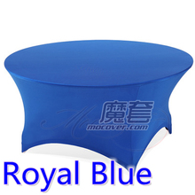 Royal blue colour wedding table cloth lycra table cover spandex table linen hotel banquet party round tables decoration on sale(China)