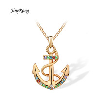 2017 New Hot Style AAA Zircon Smooth Anchor Pandent Perfume Fashion Crystal Necklace Contracted Accessories Gift European