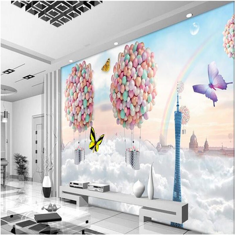 3d wallpaper custom mural non-woven 3d room wallpaper setting wall colorful balloons fly our dream photo wallpaper for walls 3 d<br><br>Aliexpress