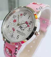 Dropshipping 1PCS  Fashion Plastic Quartz Wristwatches,New Style Hello Kitty watch Kids Cartoon retail Relogio wristwatch