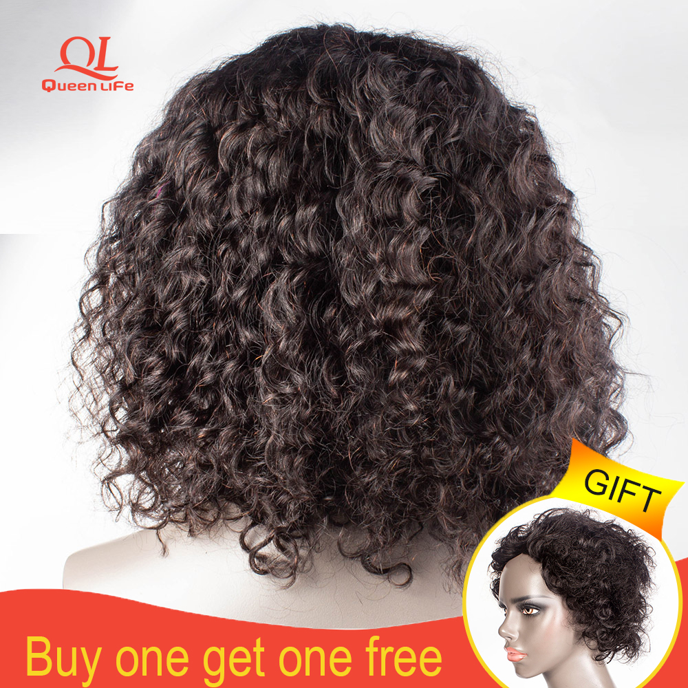 Queenlfe Short Deep Wave Lace Front Human Hair Wig Brazilian Remy Hair Bob Wigs With Pre Plucked Bleached Knots for black woman(China)