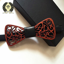 2017 New Classic formal Hollow Beard wings noble Wood Bow Ties for Mens Wedding Suits Wooden Bow Tie Butterfly Shape Bowknots S(China)