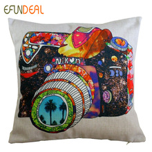Vintage Linen Pillow Cushion Cover Throw decorative cushion covers 45cm*45cm Colorful Camera Painting illustration Pillow Case