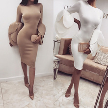 Buy New Arrival Autumn Winter Fashion Women Clothing Casual Petal Sleeve White Dresses Sexy Bodycon Work Office Pencil Dress Vestido for $10.99 in AliExpress store