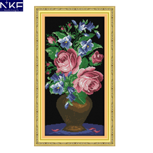 NKF The Roses In A Glass Vase Pattern Handicraft 11CT14CT DIY Cross Stitch Kit for Embroidery Wall Decor Needlework Cross Stitch(China)
