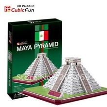 CubicFun 3D puzzle Child gift DIY toy paper model C073H Maya Pyramid of KUKULCAN Mexico New Edition world's great architecture(China)