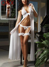 Buy DL100 2017 White Halter Women Sexy Lingerie Open Crotch Sexy Sleepwear 3 Pieces Nightgown Pajamas Set Back Chiffon Baby Dolls
