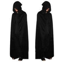 Adult Halloween Party Cosplay Clothing Long Black Hooded Cloak Death Big Cloak Cosplay Black Death Devil Cloak Cosplay(China)