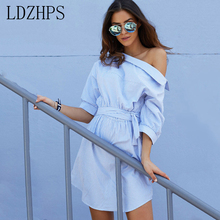 LDZHPS 2017 women summer dress Fashion Casual one shoulder Blue striped vestidos Sexy side split half sleeve Loose Beach Dresses(China)