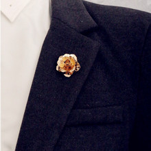 rose Gold color Rose Flower Brooch Men suit collar Accessories Classic Lapel Pins for Men's Suit Wedding Party button Pin(China)