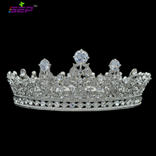 High Quality Full Round Crown Flower Queen Tiaras Headbands Wedding Bridal Hair Accessories Rhinestone Crystal CZ Zircon SHA8709