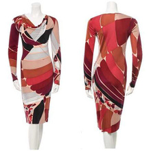 Free shipping  new women's clothing fashionable Stacked led color matching long sleeve knitted SILK JERSEY dress
