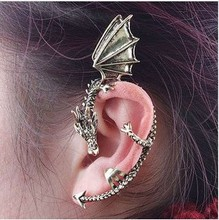 EK104 Wholesale High Quality New Fashion Exaggeration Punk Unicorn Dragon Ear Cuff Clip Earring For Women Vintage Jewelry(China)