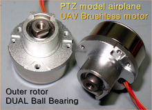 1PC Micro PTZ model airplane UAV Brushless motor,Big torque outer rotor,DUAL Ball Bearing motor(China)