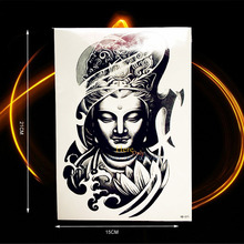 Latest Big 3D Lotus Buddha Flash Waterproof Tattoo / Real Buddhist Henna Tattoo / Thailand Buddhism Diy Transfer Tatoo Stickers