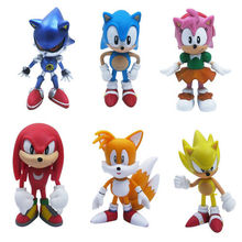 6pcs Set Sonic the Hedgehog Amy Tails Mephiles Knuckles 6cm/2.4in PVC Figure Kids Action Figure Toys Robot