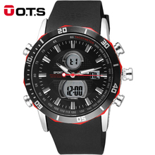 O.T.S Men's Quartz Digital Watch Men Sports Watches Stainless Steel Relogio Masculino LED Military Waterproof Analog Wristwatch