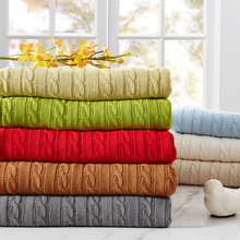 SunnyRain 1-Piece Cotton knit Blanket Solid Color Throw Blanket On the Bed 110x180cm 180x200cm(China)