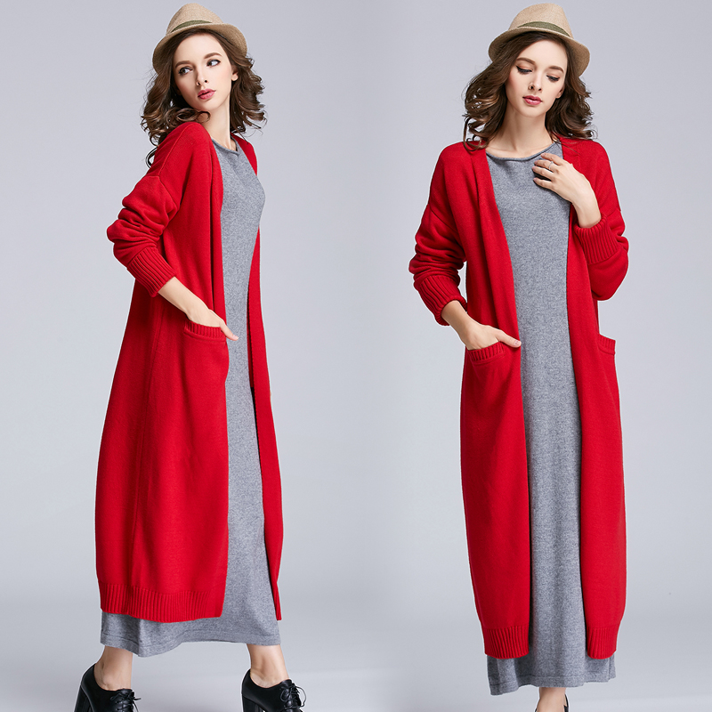 2016 winter long thick sweater coat lady loose knit cardigan cashmere coat <br>