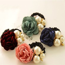 1Pc Women Lady Satin Ribbon Rose Flower Pearls Hairband Ponytail Holder Hair Band Hairpin