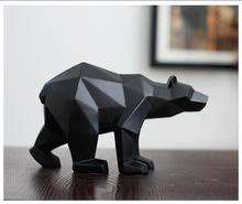 Black Panther Sculpture Geometric Resin Leopard Statue Wildlife Decor Gift Craft Ornament Accessories Furnishing Bear statues(China)