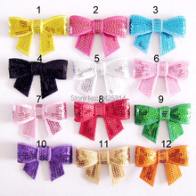 52*35mm Sequin Bow Knot Applique,Embroideried Sequin Bows DIY Hair Accessories Boutique Hair Bows Embroidered sequined bow tie(China)