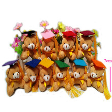 20 pcs/lot, 7cm Super Cute graduation bear with keychain Plush Toys, stuffed toys, soft graduation bear,10 colors cap to choose